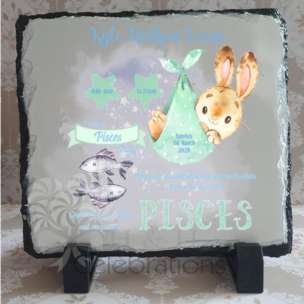 Pisces - Baby Star Sign Keepsake Rock Slate